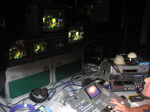 Mick at the video mixing desk.